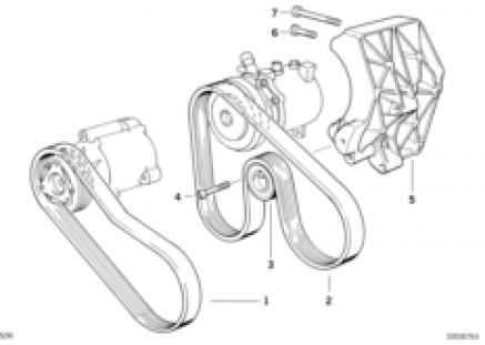 Belt drive-air pump/climate compressor