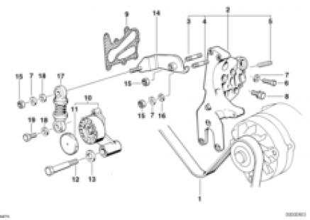 Belt drive for alternator/vane pump