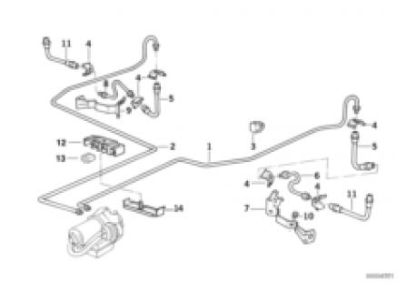 Brake pipe rear ABS/ASC+T