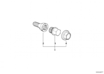 Wheel bolt lock with adaptor