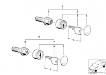 Wheel bolt lock with key