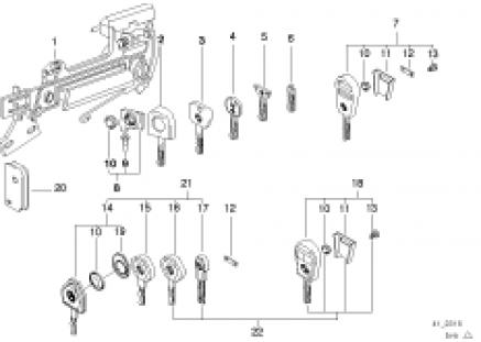 Door handle front/lock/key