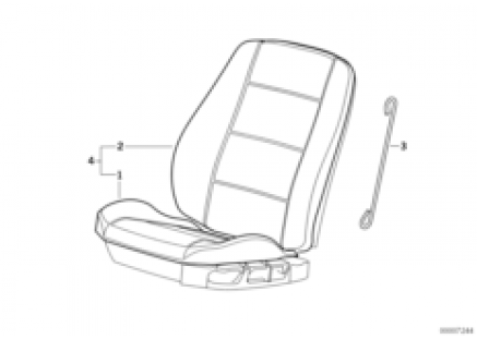 Seat, front, upholstery and cover