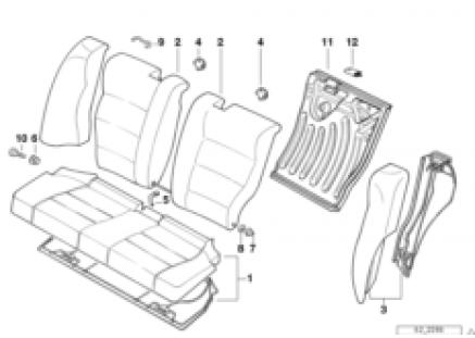 Seat, rear, backrest trim covers