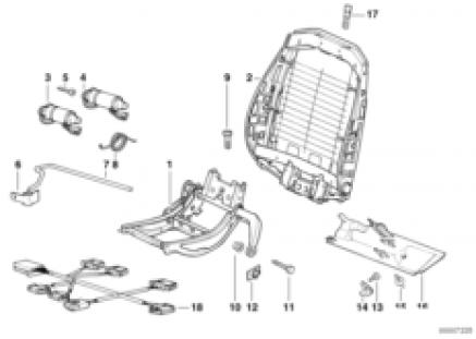 Front seat electrical backrest frame