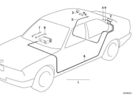 Single parts f rear window antenna