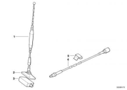 Singl.parts f rear window teleph.antenna