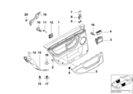 Door trim panel, rear, side airbag