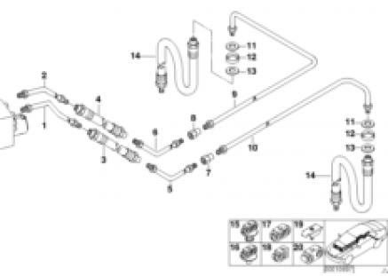 Rear brake pipe ASC/DSC