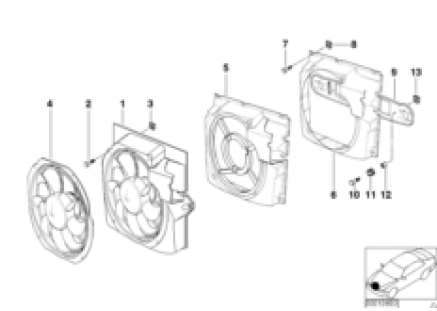 Pusher fan and mounting parts