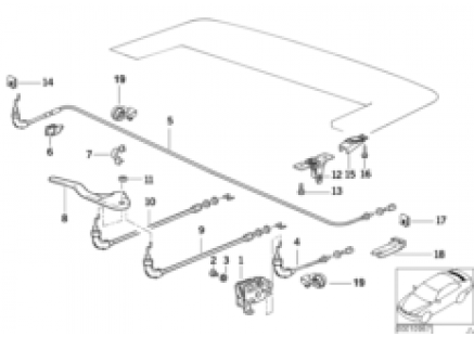 Electrical folding top flap mechanism