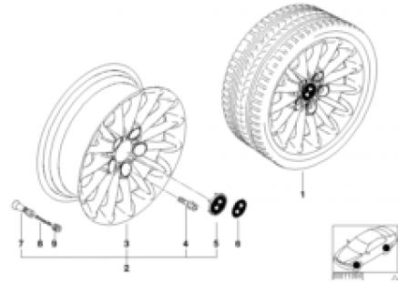 BMW light alloy wheel, radial spoke 48