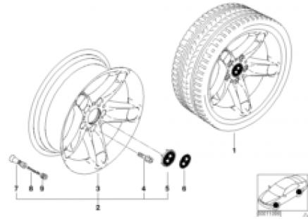 BMW light alloy wheel, star spoke 49