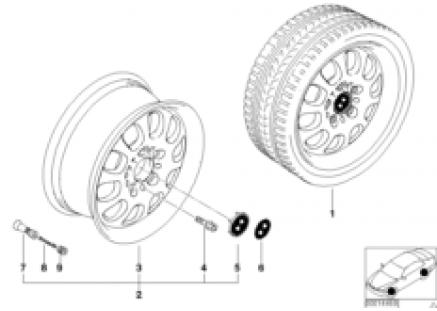 BMW light alloy wheel, ellips. styl. 46