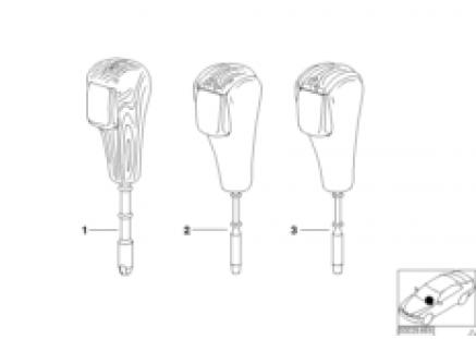 Individual selector lever handle, wood