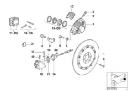 Rear wheel brake, ABS