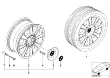 BMW light alloy wheel, star spoke 64