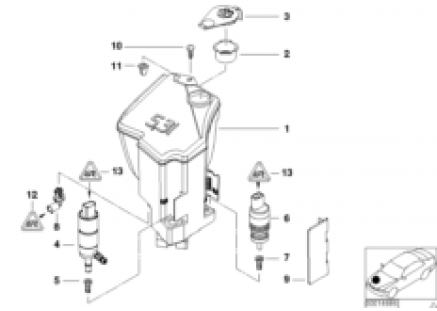 Head lamp cleaning device container