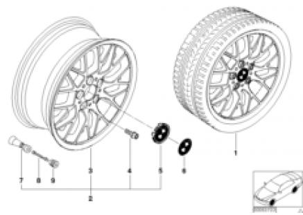 BMW light alloy wheel, cross spoke 78
