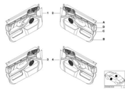 Indiv.door trim panel,leather/airbag frt