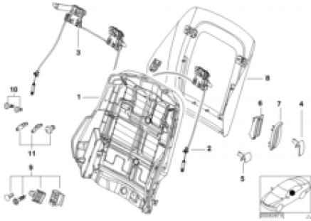 Front seat backrest frame/rear panel