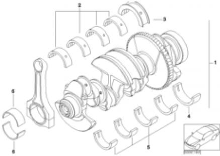 Crankshaft with bearing shells
