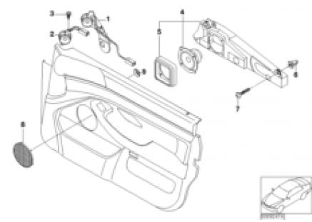 Components M-sound system, front door
