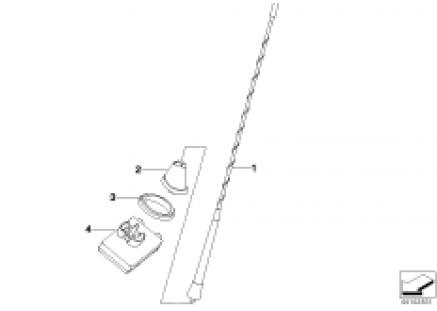 Single components f short rod antenna
