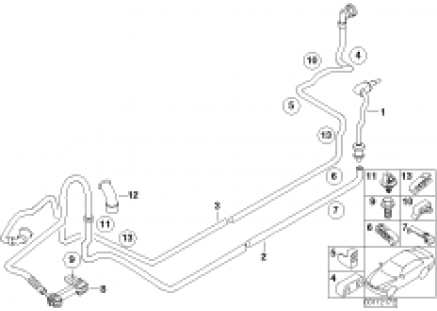 Fuel pipe and scavenging line