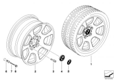 BMW alloy wheel, trapezoid spoke 134