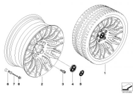 BMW light alloy wheel, cross spoke 144