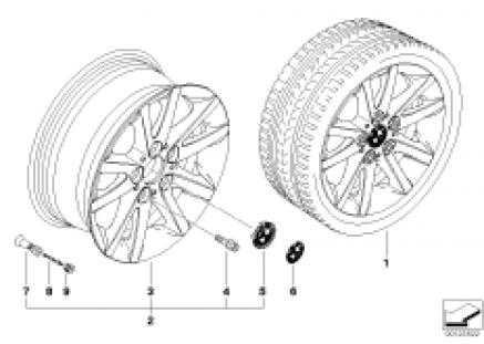 BMW light alloy wheel, spider spoke 136