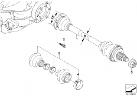 Output shaft with bearing ball cage