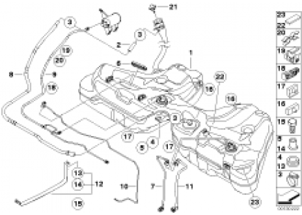Fuel tank/mounting parts