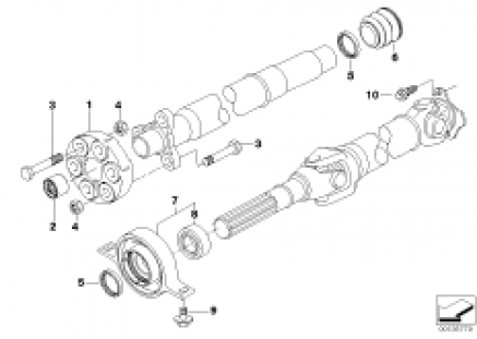 Drive shaft,univ.joint/center mounting