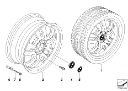 BMW alloy wheel, double spoke 154