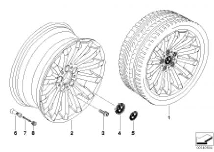 BMW light alloy wheel, radial spoke 196