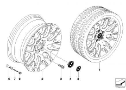 BMW light alloy wheel, cross spoke 197