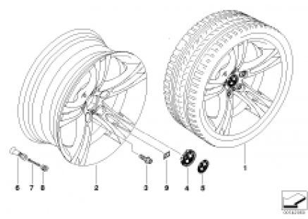 BMW alloy wheel, M double spoke 184