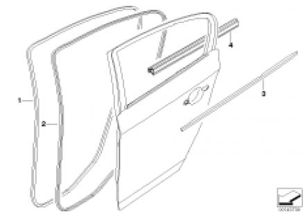 Door weatherstrip rear