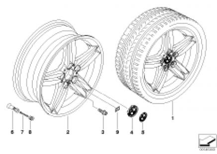 BMW alloy wheel, M double spoke 208