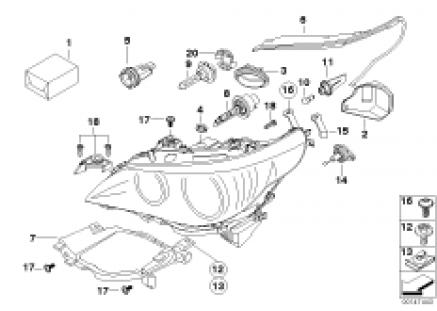 Single components f headlight Xenon/ALC