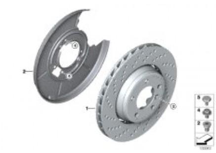 Rear wheel brake disc, perforated