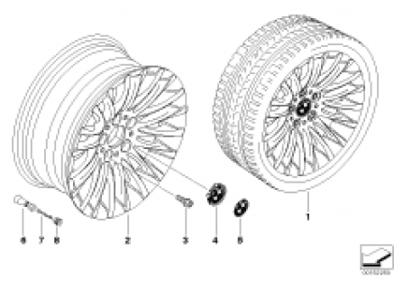 BMW light alloy wheel, spider spoke 187