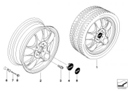 MINI alloy wheel, 5-start spooler 100