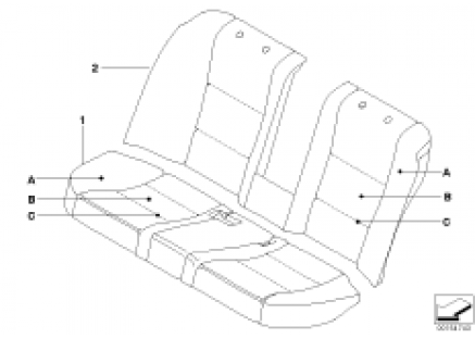 Indiv. cover for seat, rear, LC