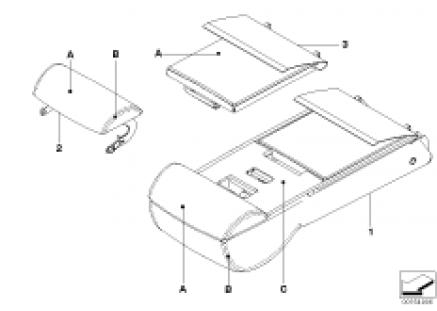 Individual armrest of rear sports seat