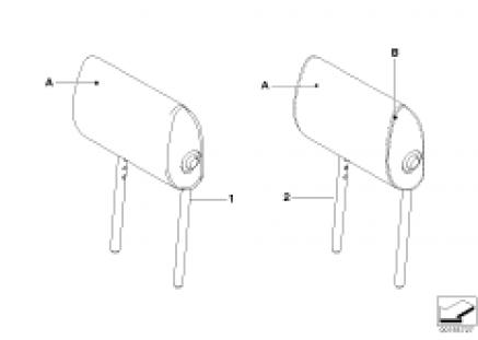 Indi. folding headrest, base kit, rear