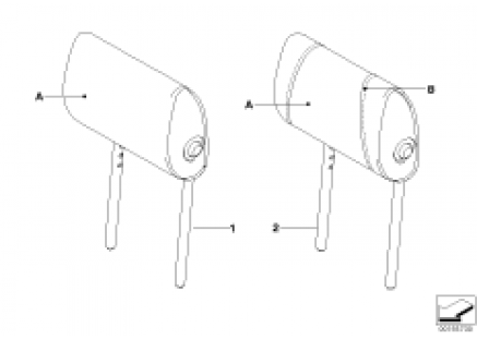 Indi. folding headrest, Sport seat, rear