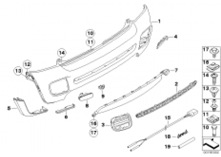 Bumper trim panel, rear